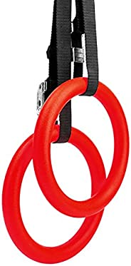 Reehut Gymnastic Rings with Adjustable Straps, Metal Buckles & Ebook - Home Gym (Set of 2) - Non-Slip - Gr