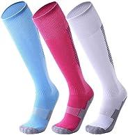 Happy Cherry Kids Youth 3 Pack Soccer Socks Knee High Sport Sock Compression Team Socks for Boys Girls