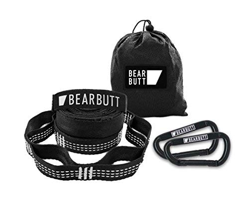 Bear Butt Kodiak Hammock Straps - 20 Feet Long - Holds 1000 Pounds from Our Extra Reinforced Triple Stitching - Get Our Hammock Tree Straps - Start Up Company (Black/White)
