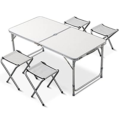 World Pride Outdoor Height Adjustable Folding Table with 4 Folding Chairs, Portable Camping Picnic Party Dining Table