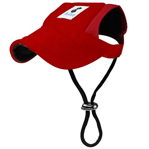 PAWABOO Dog Baseball Cap, Adjustable Dog Outdoor Sport Sun Protection Baseball Hat Cap Visor Sunbonnet Outfit with Ear Holes for Puppy Small Dogs, Small Size, Red Baseball Hats For Dogs