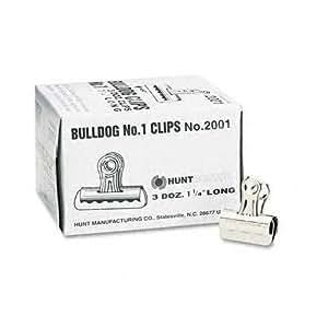 Elmer's Bulldog Clips, Nickel-Plated, 3/8 Inch Capacity, 1-1/4 Inches, 36/Box (2001)