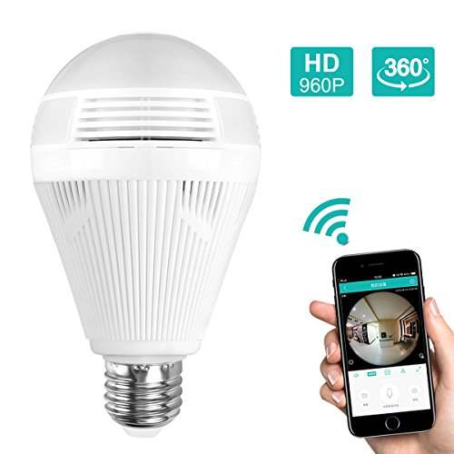 WiFi Light Bulb Camera, 360 VR Panoramic Wireless Bulb Security Camera, Remote Baby Pet Monitor Two-Way Audio Night Vision and Motion Detection, Works on iOS/Android Phone