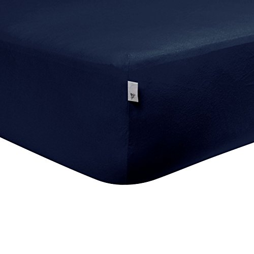 Burt's Bees Baby - Fitted Crib Sheet, Boys Solid Color, 100% Organic Cotton Crib Sheet for Standard Crib and Toddler Mattresses (Navy Blue)