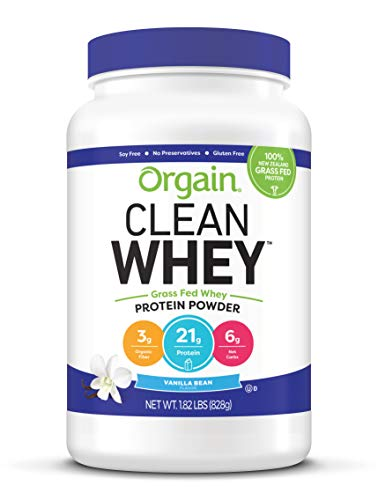 (Orgain Grass Fed Clean Whey Protein Powder, Vanilla Bean - Low Net Carbs, Gluten Free, Soy Free, No Sugar Added, Kosher, Non-GMO, 1.82 Pound)
