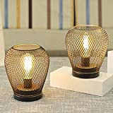 JHY DESIGN Set of 2 Metal Cage LED Lantern Battery Powered,Cordless Accent Light with LED Edsion Style Bulb.Great for Wedding
