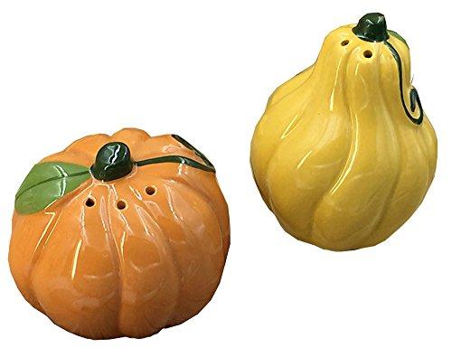 (3D Vegetable Shape Hand-painted Ceramic Salt and Pepper Shakers Cruet Set - Red Tomato / Pumpkin)