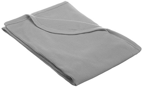American Baby Company Natural Cotton Swaddle/Thermal Blanket, Grey, Soft Breathable, for Boys and Girls