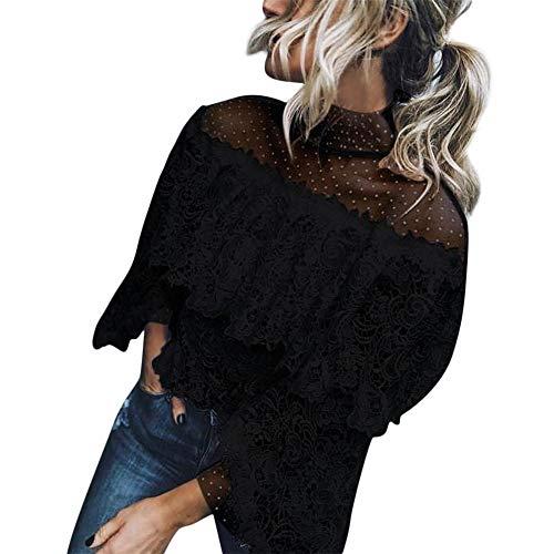 Aniywn Women O Neck Lace Polka Dot Off Shouler Long Sleeve Blouse Fancy Ruffle Casual Tunic Top Shirts (S, Black)