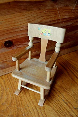 Strombecker wooden doll rocking chair vintage with little bear decal dollhouse from Strombecker