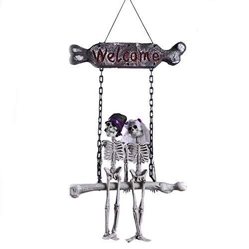 JINRU Hanging Skeleton Ghost Bride and Groom Wedding Couple, Day of The Dead and Halloween Prop for Skull Decorations for Halloween Haunt Décor Best Halloween Decoration]()