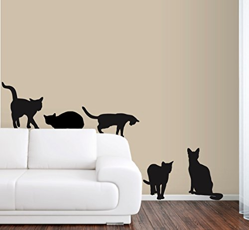 6 Cats Wall Decals in Life -