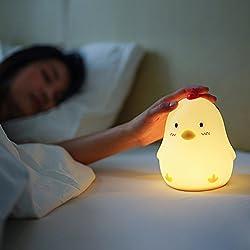 Cute Wake Up Light Alarm Clock for kids,JAYEGT Chicken Wake Up Alarm Clock Bedside Desk Lamp Adjustable Brightness Rechargeable Night Light for Kids Home Decoration