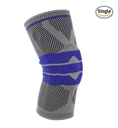 Knee Compression Sleeve Support for Sports - Silica Gel Anti-Collision Knee Pads 3D Knitting Technology High Elastic Soft XL