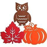 Fall-Themed Felt Décor (3 Piece Assortment) Autumn Fall Decorative Harvest Thanksgiving Pumpkin Leaves Classroom
