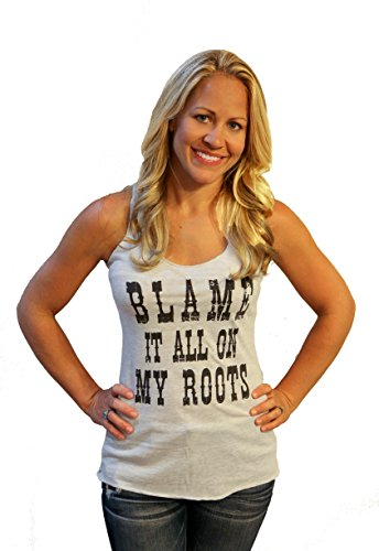 (Tough Little Lady Womens Country Shirt Blame IT All ON My Roots Graphic Wh Tank XL White)