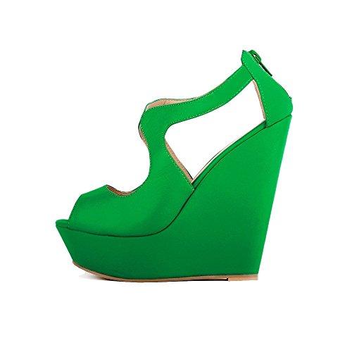 Femmes Faux Velours Peep Toe Robe Plate-forme Haute Sandales Compensées Vert Foncé