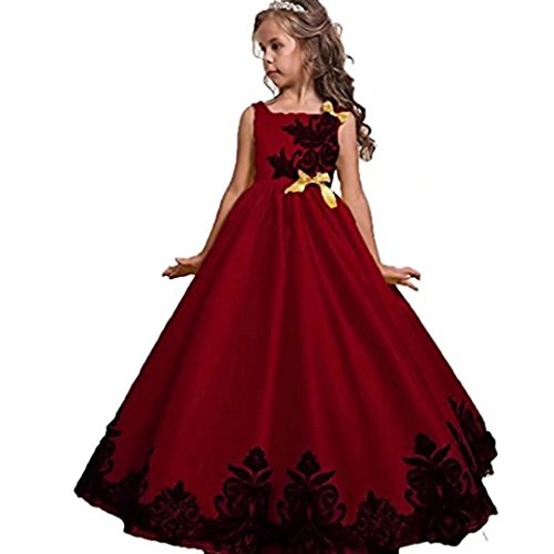 Kids Showtime Flower Girls Embroidered Robe Princess Dress Birthday Party Gowns(Red,7-8Y)]()