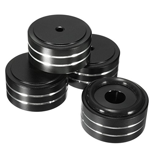 CynKen 4pcs 40x20mm Aluminum HIFI AMP Speaker Isolation Stand Turntable DAC Feet Pad Black