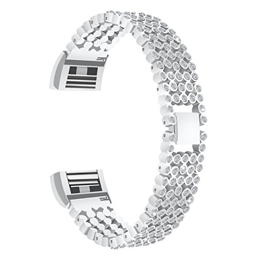 For Charge 2 Bands Charge HR 2 bands FitTurn Replacement Metal Bracelet Bands/Assesories/Strap Adjustable For Fitbit Charge 2/ Charge HR 2 -Full Diamond Style Suitable for woman(with Tool)(Silver) by FitTurn
