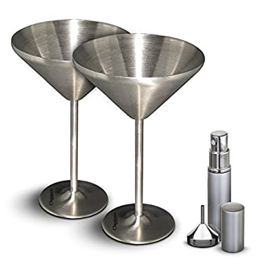 Classique Martini Glasses with Freezer Gel Insulation Sets Of 2 Or 4 with Martini Recipe Ebook, Atomizer and Funnel