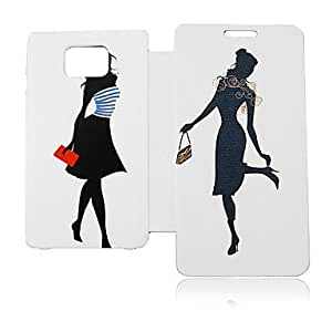 Young Woman Leather Case for Samsung Galaxy S2 I9100