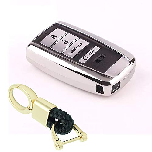 Royalfox(TM) 2 3 4 Buttons TPU Smart Remote Key Fob case Cover for Acura RLX RDX MDX ILX TLX PLX NSX,with Key Chain (not fit Engine Hold) (Silver)