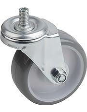 Metafranc Zwenkwiel Ø 75 mm - met schroef - polyurethaan wiel - zacht loopvlak - rollagers - 75 kg draagkracht/transportwiel/meubelrol/zware belasting / 802940