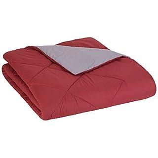 AmazonBasics Reversible Microfiber Comforter Blanket - Full or Queen, Burgundy