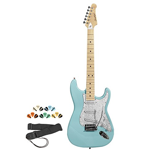 (Sawtooth ST-ES-DBLP-KIT-1 Daphne Blue Electric Guitar with Pearl White Pickguard - Includes Strap, Picks and Online Lesson)