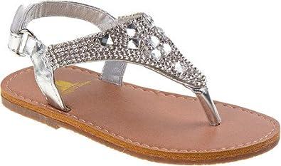 3f915da037d632 Rugged Bear Girls Sparkle Thong Sandals Silver 5 Toddler