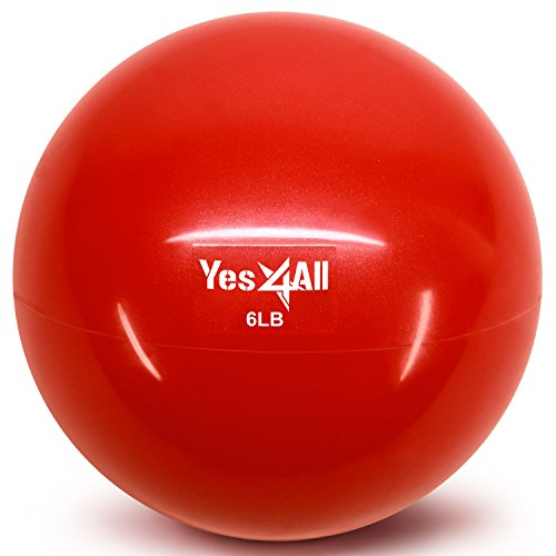 Yes4All Soft Weighted Toning Ball / Soft Medicine Sand Ball – Great for Exercise, Workout, Physical Therapy – Soft Weighted Ball (6 lbs, Red)