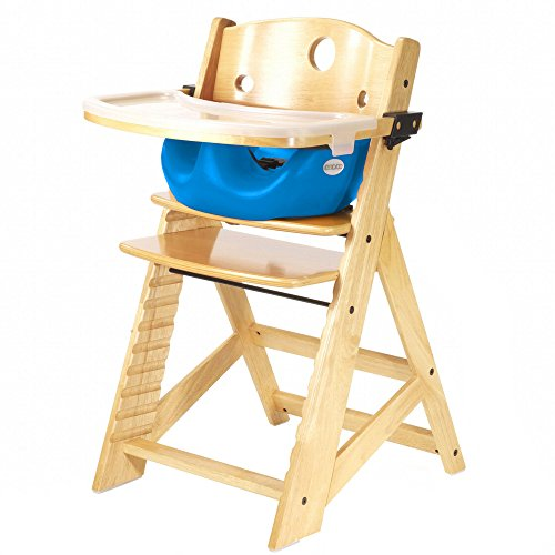 Keekaroo Height Right High Chair, Infant Insert and Tray Combo, Natural/Aqua