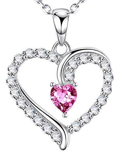 Love Heart Necklace Birthday Gifts for Women Sterling Silver Jewelry Pink Tourmaline Pendants LC Citrine Necklace