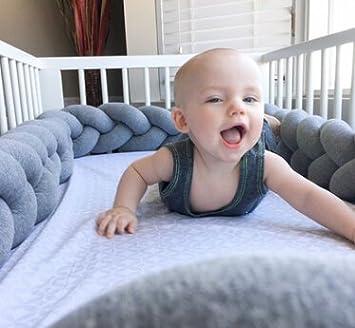 laamei Braided Baby Wiege Kissen Zö pfen Stoß fä nger Stoß stange-Schlange fü r Nestchen abordes von Dekoration von Haus, Kindergarten 200cm grau