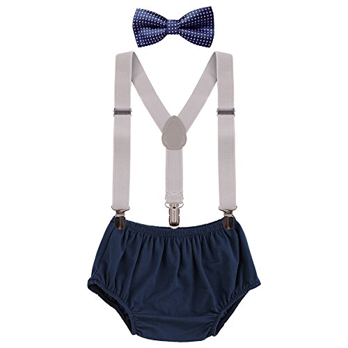 - Baby Boys Cake Smash Clothes Diaper Suspenders Pants Bow Tie 3PCS Set First 1st 2nd Birthday Outfit for Photo Prop Party Gray + Navy Blue Dots 3-24 Months