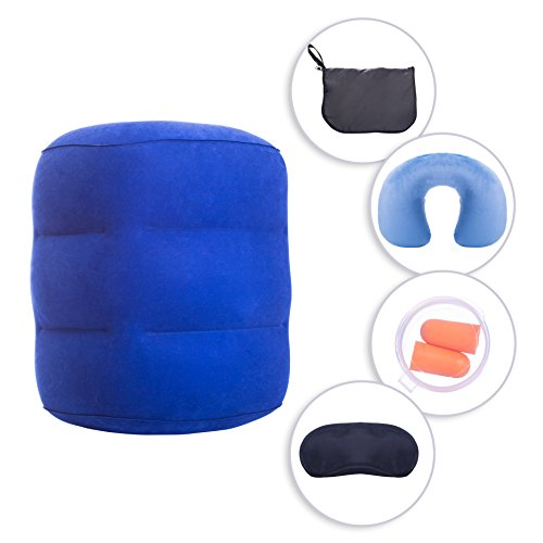Travel Foot Rest Pillow Set: Inflatable Adjustable Height Feet & Neck/Head Cushions For Adults, Toddlers & Kids | Washable Neck Support For Car, Train, Bus & Airplane| Patented Quick Inflation