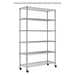6 Tier Heavy Duty 82x48x18 Layer Wire Shelving Rack Steel Shelf Adjustable Commercial Grade Construction Wire Durable Castor Wheels - NSF Rated Chrome Finish #1301c