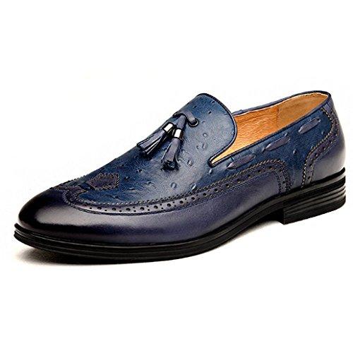 Classico Scarpe Cuoio Blue Broch Scarpe Tempo Inghilterra Oxford di Nappa Maschi Libero Affari ffwFr5nqx