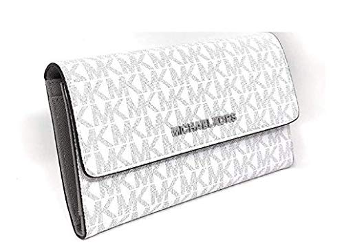 Michael Kors Jet Set Travel Signature Large Trifold Wallet Bright White