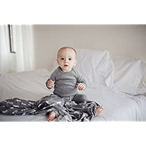 "Large Premium Knit Baby Swaddle Receiving Blanket Grey and White Moose""Scout"" by Copper Pearl"