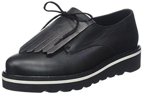 Derbys 990 Femme Leather Lace Hilfiger Up Pearlized Shoe Black Noir Tommy OxqYvwTZnT