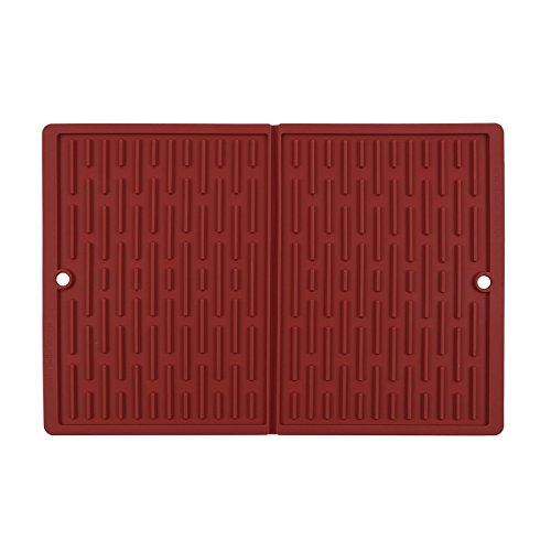 """SbS Folding Silicone Dish Drying Mat – Red – 12"""" x 18"""" e"""