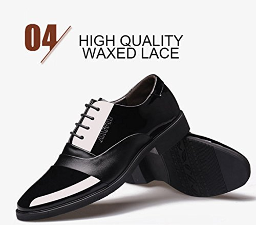 LINYI Men's Shoes Business Artificial PU Comfort Pointed Toe Walking Office Career Breathable Black Brown Blackwithouvelvet frxA3