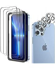 zoymick 6 stycken pansarglas, kompatibelt med iPhone 13 Pro max (6,7 tum), 3 stycken kameraskyddsfilm och 3 skyddsfilm, med positioneringshjälp, bubbelfri, repfri, 9H hårdhet skärmskydd