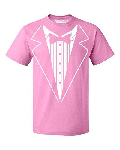 P&B Tuxedo White Funny Men's T-Shirt, 2XL, Azalea Pink