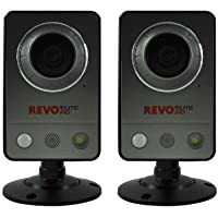 REVO America REHCUW-1BNDL Elite HD Wireless/Wired Indoor IP Cube Camera, 2-Pack (Grey)