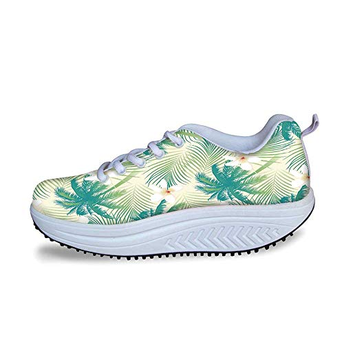 YOLIYANA Leaf Cool Shake Shoes,Oceanic Island Palm Tree Leaves with Papaya Crepe Ginger Flowers Art Print Decorative for Women,US Size6