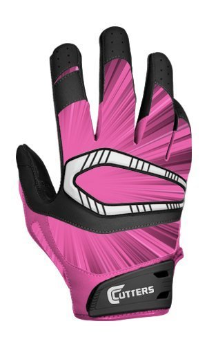 Receiver Football Cutters Glove (Cutters Gloves REV Pro Receiver Glove (Pair), Pink, 3X-Large)