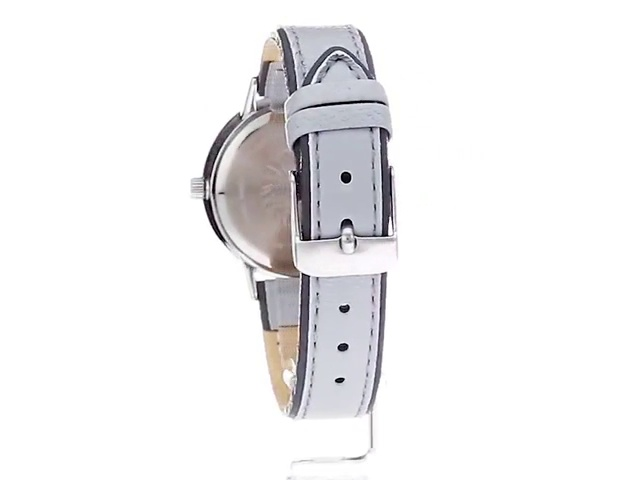 Anne Klein Women's Silver-Tone and Light Grey Leather Strap Watch